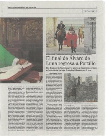 La 2ª recreación sobre Álvaro de Luna en Diario de Valladolid