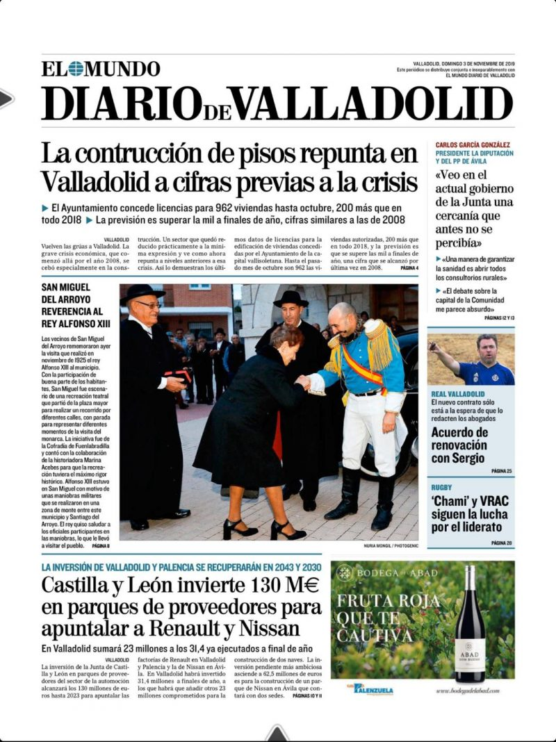 Portada del Diario de Valladolid (3-11-19)
