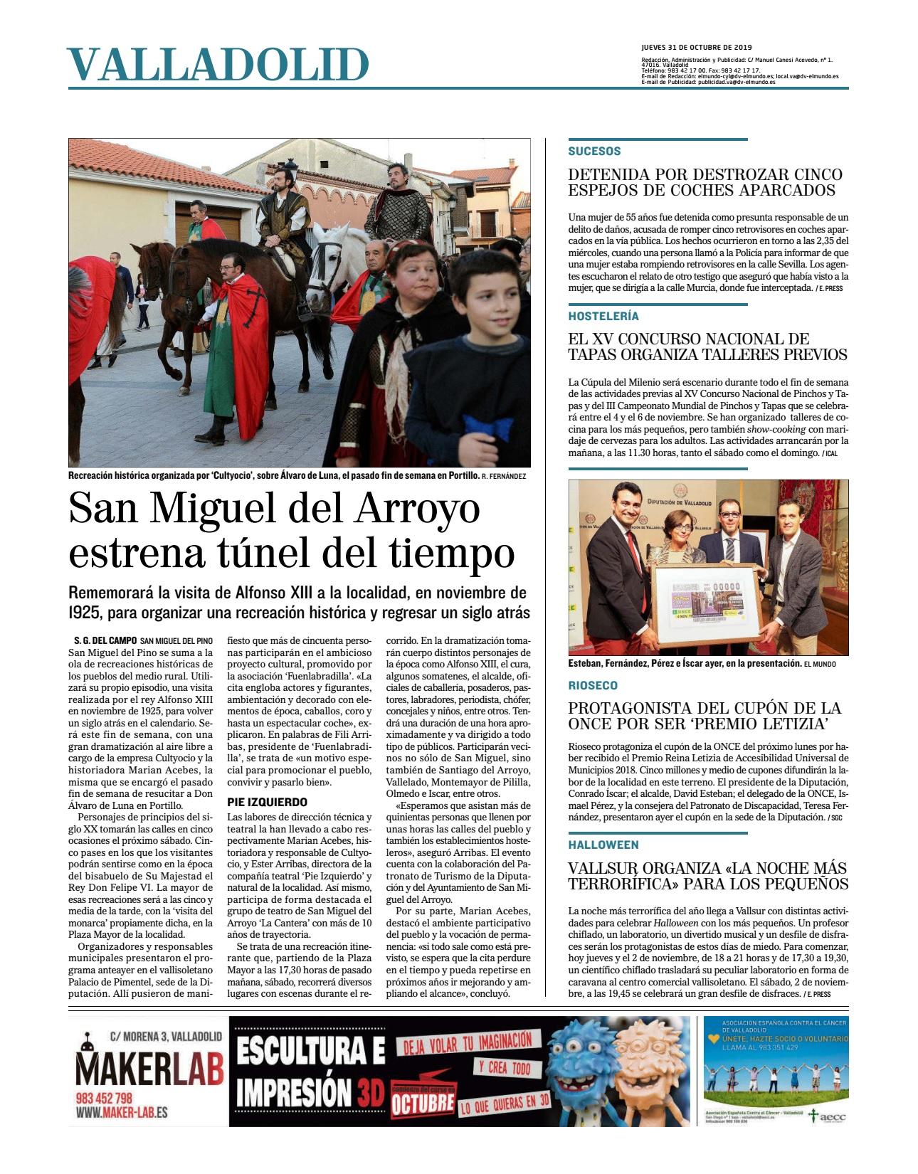 Diario de Valladolid (31-10-19) con la recreación de Alfonso XIII