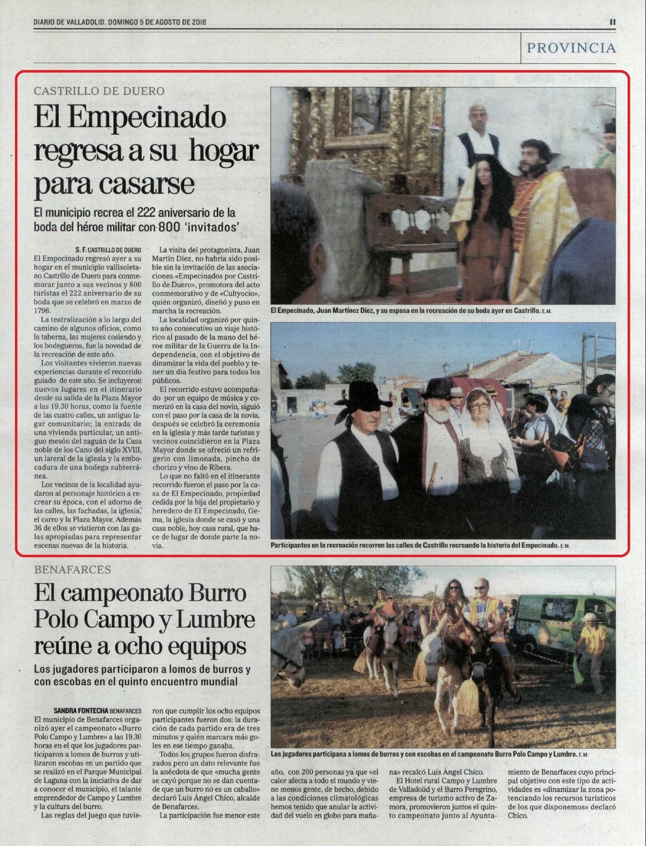 """""""Boda de El Empecinado"""" en el Diario de Valladolid"""