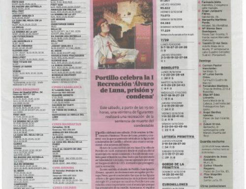 El Día de Valladolid, dedica una noticia a la próxima recreación de Álvaro de Luna