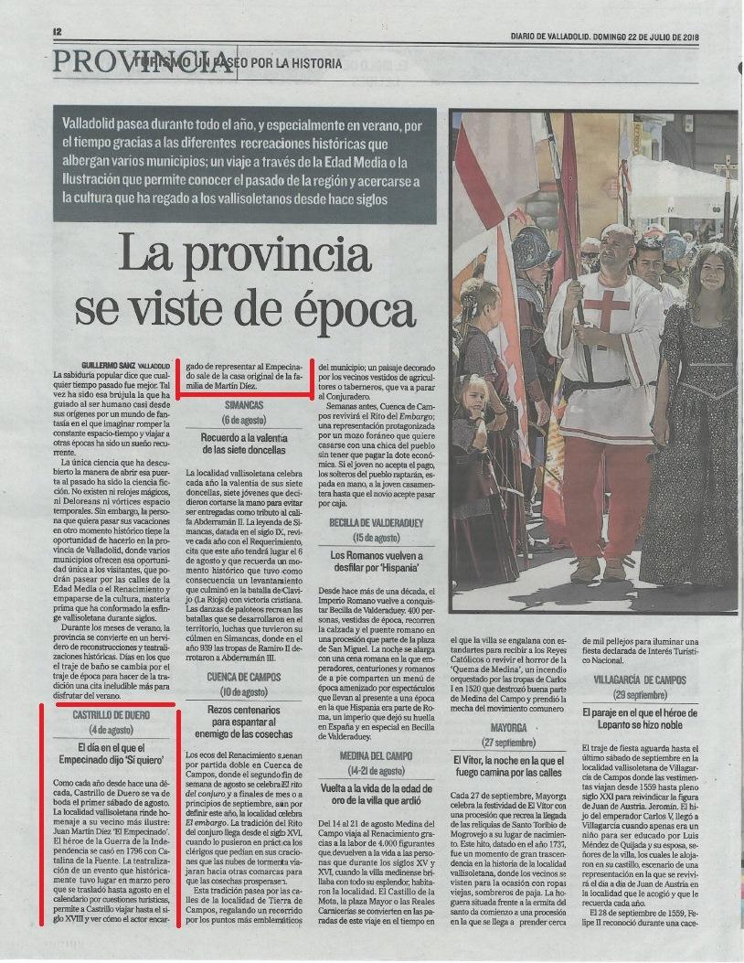 Las recreaciones de Valladolid en El Mundo (22-7-18)