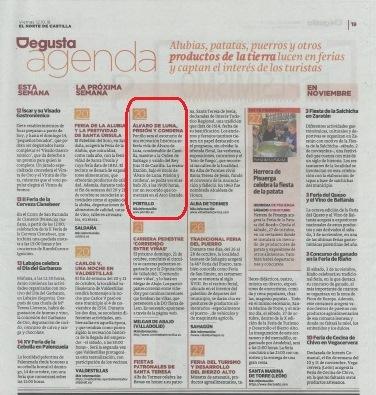 El Norte de Castilla- 12 oct 2018- Recreación de Álvaro de Luna